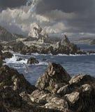 Irish Coast Church. A storm tossed sea along a rocky Irish coastline with church and seagulls vector illustration