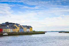 Irish coastal landscape with the typical colored fishermen& x27;s hou Stock Photos