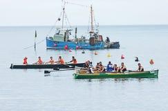 Irish Coastal Rowing Championships Carnlough Co. Antrim. Irish Coastal Rowing Championships Carnlough Antrim royalty free stock image