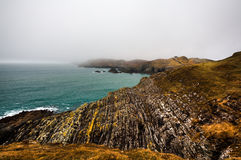 Irish coastline cliff landscape fog Stock Images