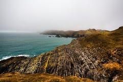 Irish coastline cliff landscape fog Stock Images