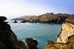 Irish coastline cliff landscape intense colors stock photo