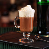 Irish coffee in a bar. Concept of St Patrick holiday. Holiday ba royalty free stock photography