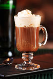 Irish coffee in a bar. Concept of St Patrick holiday. Holiday ba stock images