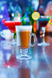 Irish coffee on bar interior.  Stock Photos