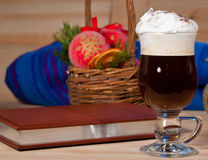 Irish coffee on christmas background Royalty Free Stock Images