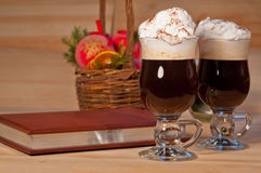 Irish coffee on christmas background Royalty Free Stock Photos