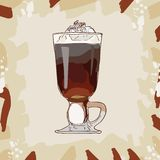 Irish Cream Coffee classic cocktail illustration. Alcoholic bar drink hand drawn vector. Pop art royalty free illustration