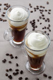 Irish coffee in a glass Royalty Free Stock Photos