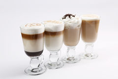 Irish coffee. Set of 4 irish coffee isolated on white background Royalty Free Stock Photography