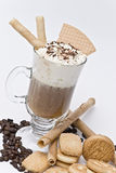 Irish coffee with wafers. Royalty Free Stock Photos