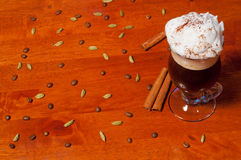 Irish coffee on wooden background Stock Photography