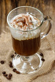 Irish coffee on wooden table Royalty Free Stock Image