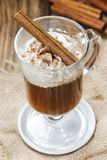 Irish coffee on wooden table Royalty Free Stock Photos