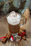 Irish coffee on wooden table Royalty Free Stock Photo
