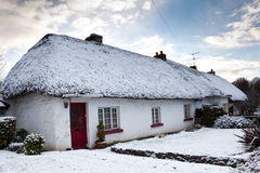 Irish cottage house at winter Royalty Free Stock Images