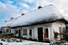 Irish cottage house at winter Royalty Free Stock Photo