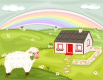 Irish Country Landscape With Traditional Cottage Stock Photos