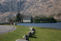 Irish country road and lake Royalty Free Stock Photo