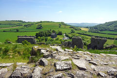 Irish Countryside and Ruins. Blue and green landcape in the Irish countryside at the Rock of Dunamase Stock Photos