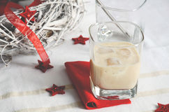 Irish cream cocktail with red deco items stock photography
