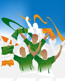Irish crowd. Crowd of soccer people fan and three soccer players with scarf and flag Royalty Free Stock Images