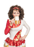 Irish dancer drinking beer Royalty Free Stock Photos