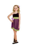 Irish Dancer Girl in Ghillies and Curly Wig. An Irish or Celtic Dancer Girl in Recital Costume, Ghillies and Curly Wig Stock Photo