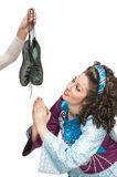 Irish dancer praying for soft shoes for dancing Royalty Free Stock Image