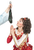 Irish dancer praying for soft shoes for dancing Stock Images