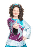 Irish dancer showing thumbs up sign Stock Photos