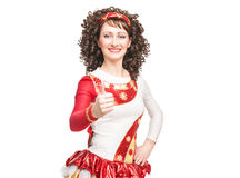 Irish dancer showing thumbs up sign Royalty Free Stock Photos