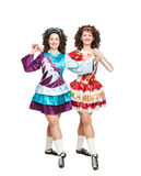 Irish dancers posing isolated Stock Photos