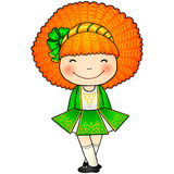 Irish dancing girl in green traditional dress. Little Irish dancing girl in traditional dress and soft shoes Royalty Free Stock Images