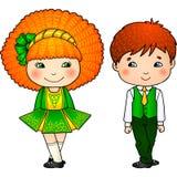 Irish dancing kids in traditional costumes Royalty Free Stock Image
