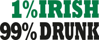 1% irish 99% drunk irish saying. Vector Vector Illustration