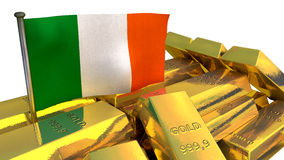 Irish economy concept with gold bullion Stock Photo