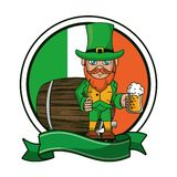 Irish elf with beer cup and barrel. Cartoons ireland round emblem with banner vector illustration graphic design stock illustration