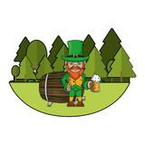 Irish elf with beer cup and barrel. Cartoons at park vector illustration graphic design stock illustration