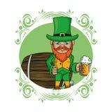 Irish elf with beer cup and barrel. Cartoons st patricks round emblem vector illustration graphic design royalty free illustration