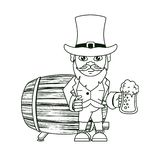Irish elf with beer cup and barrel. Cartoons vector illustration graphic design vector illustration
