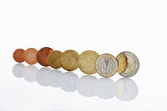 Irish and euro coins on white background Stock Image