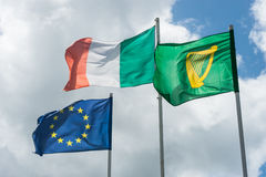 Irish and european flags Royalty Free Stock Image
