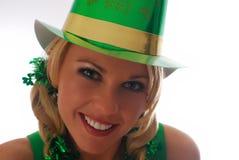 Irish Eyes!. Beautiful Irish Lass in a St. Patty's Day Party Hat Royalty Free Stock Photo