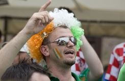 Irish fan in Poznan. Royalty Free Stock Images