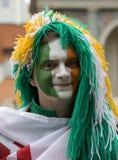 Irish fan in Poznan. Stock Photos