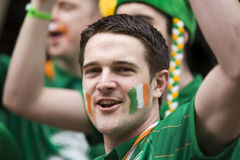 Irish fan in Poznan. Royalty Free Stock Photo