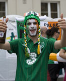 Irish fan in Poznan. Royalty Free Stock Image