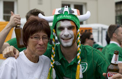 Irish fan in Poznan. Royalty Free Stock Photography
