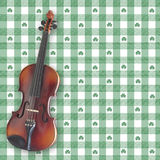 Irish Fiddle. A violin (fiddle) on a shamrock gingham digital background.  All elements and brushes created by Denise Kappa Royalty Free Stock Image